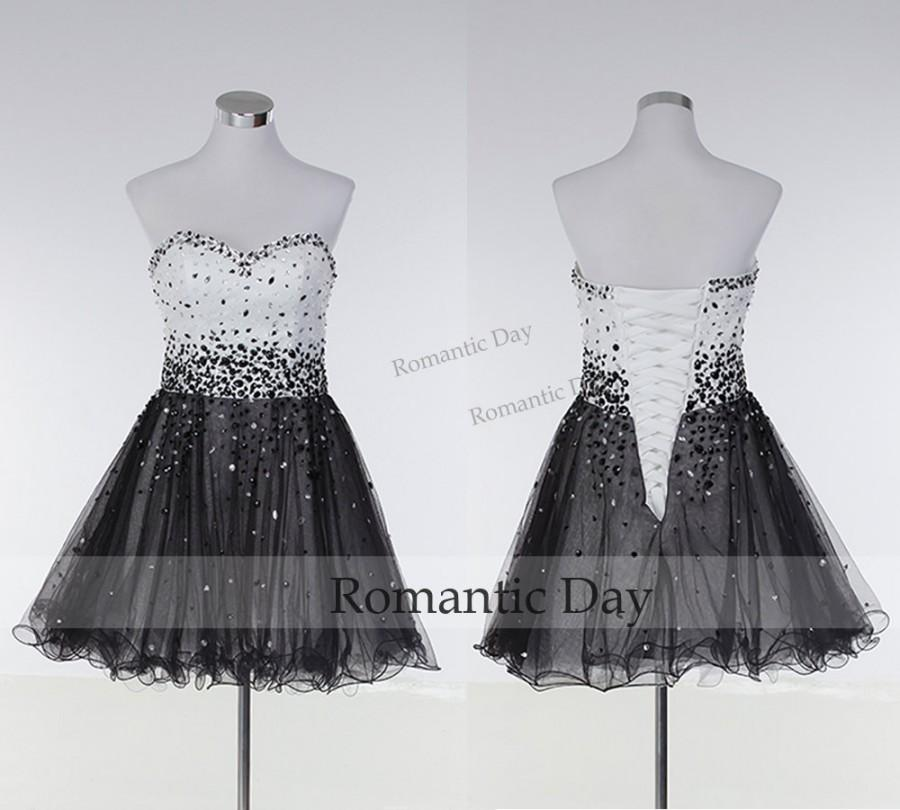 Wedding - Sexy Sweetheart Crystal White&Black Short Homecoming Dress 2015/Sexy Cocktail Dress/Custom Made 0406