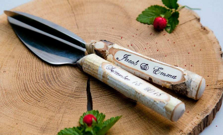 Mariage - Rustic Wedding Cake Knife Set,cake serving set rustic wedding cake,server and knife