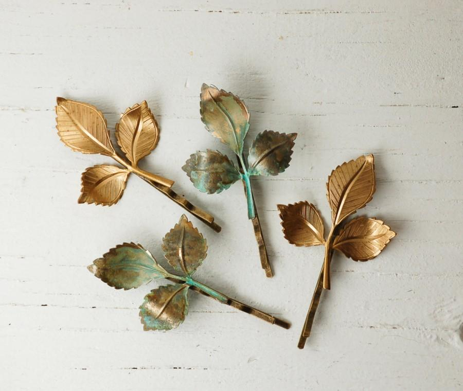 Hochzeit - 4 LEAF Branch Bobby Pin Set Gold Leaf Green Leaf Autumn Woodland Wedding Fairy Faerie Nature Garden Wedding Bridal