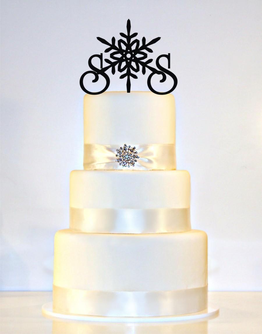 Winter Wedding Snowflake Monogram Cake Topper In Any Letters A B C D E F G H I J K L M N O P Q R S T U V W X Y Z
