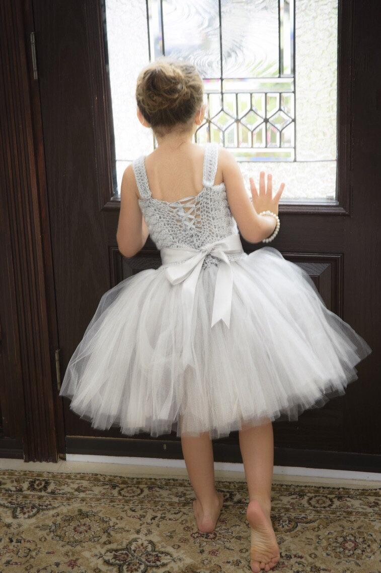 Silver Gray Flower Girl Tutu Dress, Crochet Tutu Dress, Baby Tutu ...