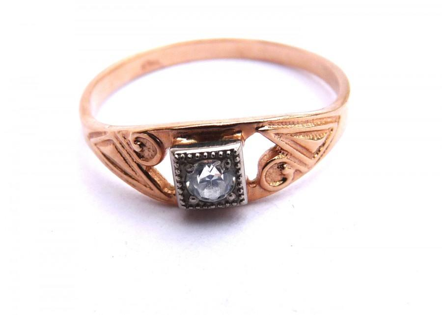Mariage - Engagement Ring 14K Gold Rose Diamond Halo White Gold Vintage Wedding Wedding Ring 7.5