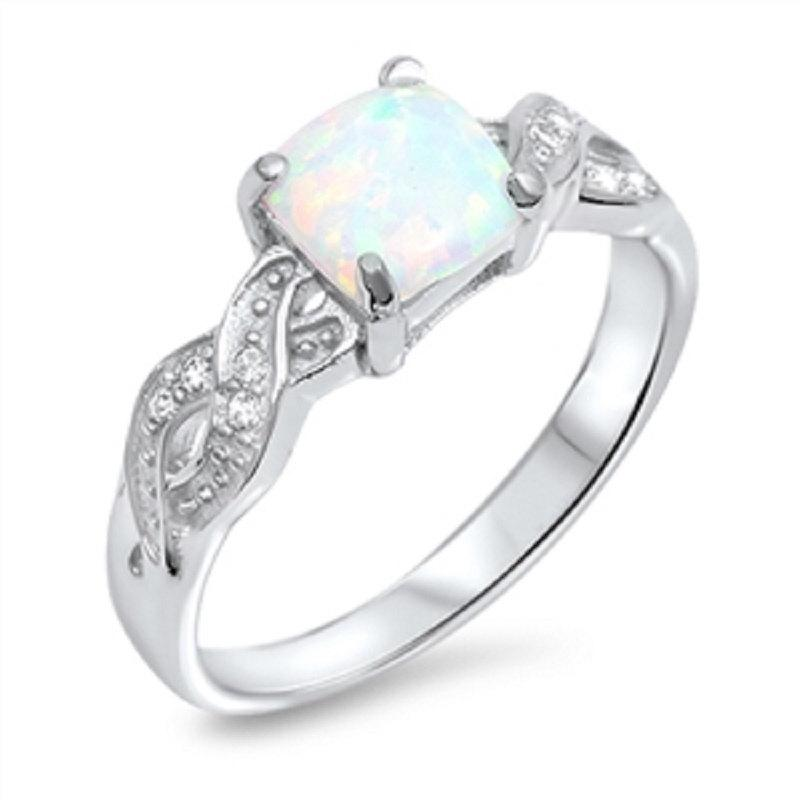Wedding - Vintage Round White Opal Crisscross Infinity Shank Round Russian Clear White Topaz CZ Solid 925 Sterling Silver Wedding Engagement Ring