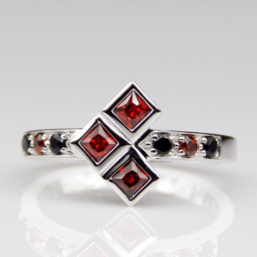 Platinum Harley Quinn Natural Garnet And Onyx Engagement Wedding