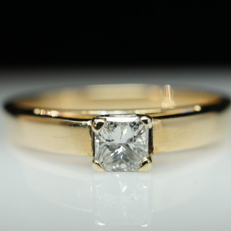 Mariage - Reserved - Vintage Solitaire .28ct Princess Cut Diamond Engagement Ring 14k Yellow Gold - Free Sizing - Layaway Available