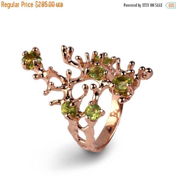 Mariage - Christmas SALE - REEF Rose Gold Peridot Ring, Gold Gemstone Ring, Rose Gold Ring, Peridot Engagement Ring, Organic Ring, Statement Ring
