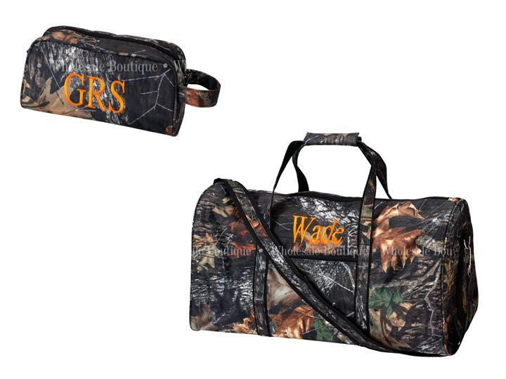 Wedding - BACK in stock 2 PC. Embroidery Personalized Large Woods Camo Duffle with Toiletry Bag Sports Dance Overnight Bag