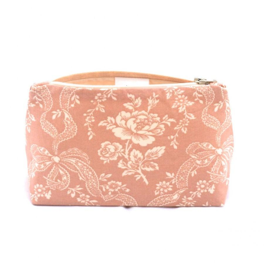 Hochzeit - Black Friday/Cyber Monday SALE Bridesmaid Gift Makeup Bag in Vintage Dusty Rose Cosmetic Bag Floral and Ribbon Print
