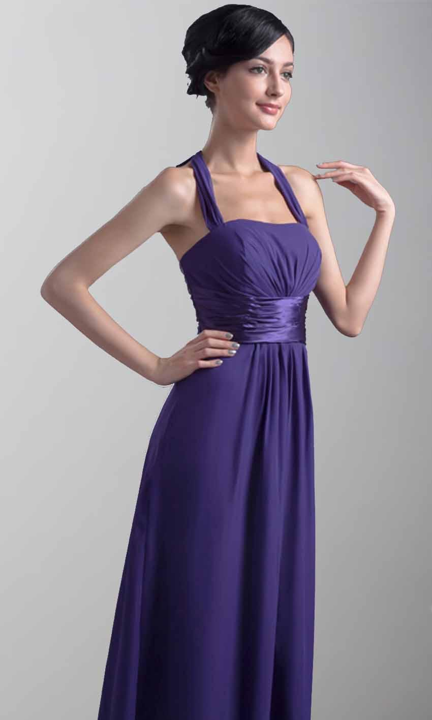 Elegant Purple Halter Long Bridesmaid Dresses KSP382