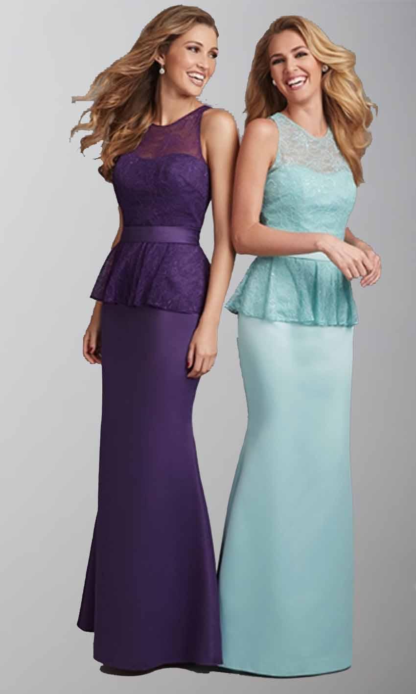 Elegant High Lace Illusion Long Sheath Bridesmaid Dresses KSP413 ...