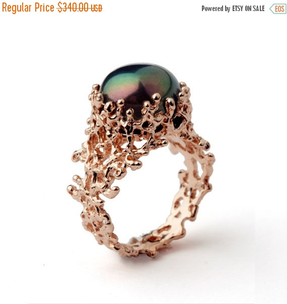 Wedding - Christmas SALE - CORAL Black Pearl Ring, Unique Rose Gold Engagement Ring, Black Pearl Engagement Ring, Rose Gold Pearl Ring, Rose Gold Ring