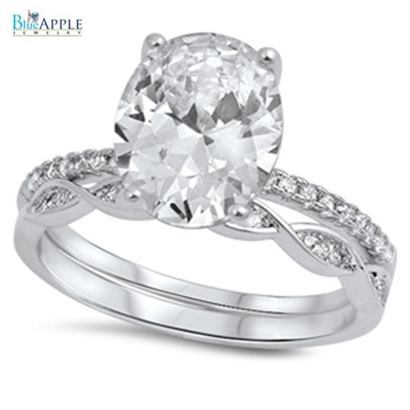 Mariage - 3.85CT Fancy Ring Oval Cut Round Diamond CZ Solid 925 Sterling Silver Clear Diamond Accent CZ Wedding Engagement Promise Ring Bridal Set