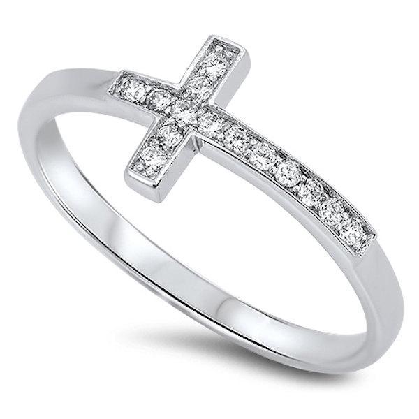 زفاف - Petite Small Solid 925 Sterling Silver Brilliant Cut Round White Topaz Sideways Cross Ring Women Girls Ladies Cross Ring
