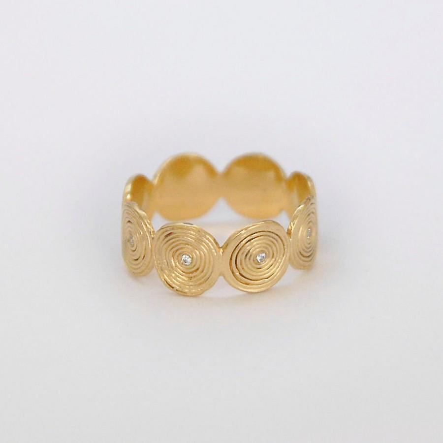 زفاف - Diamond Engagement Ring, Unique 18K Gold Engagement Ring.