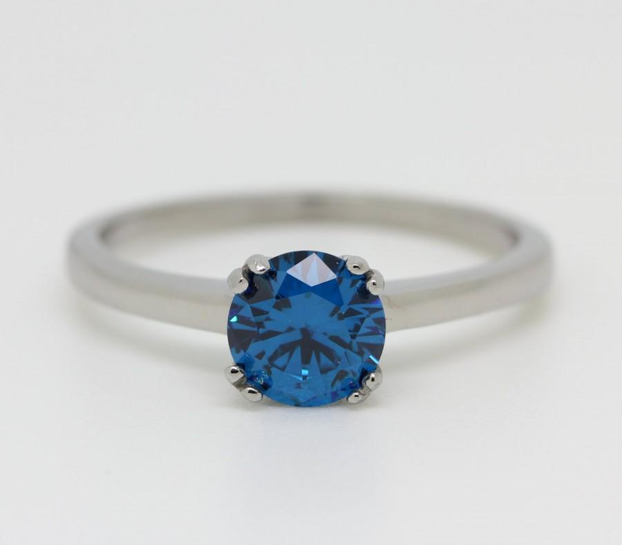 Mariage - Genuine London Blue Topaz 1ct solitaire ring in Titanium or White Gold - engagement ring - wedding ring - handmade ring