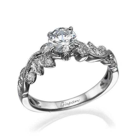 Forever Brilliant Moissanite Engagement Ring Leaf Ing Antique Vintage Wedding Band
