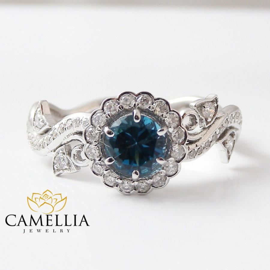 Mariage - 14K White Gold Blue Diamond Engagement Ring-Halo Engagement Ring
