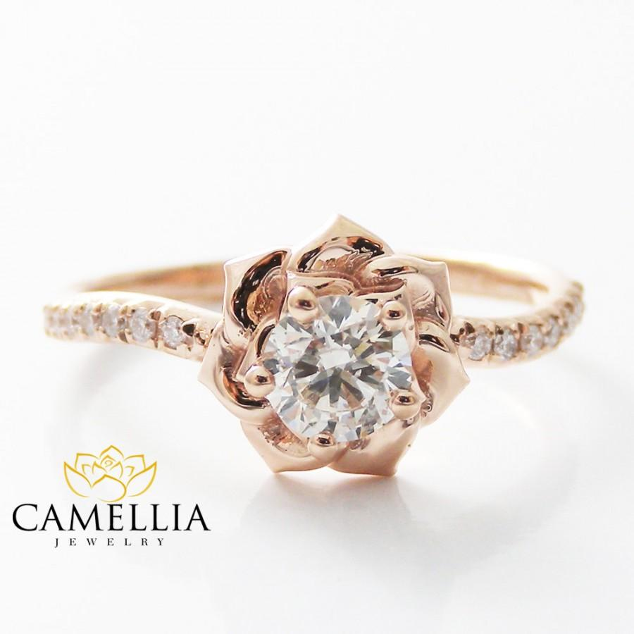 Mariage - 14K Rose Gold Diamond Engagement Ring 0.40ct Natural Diamond Rose Gold Flower Engagement Ring