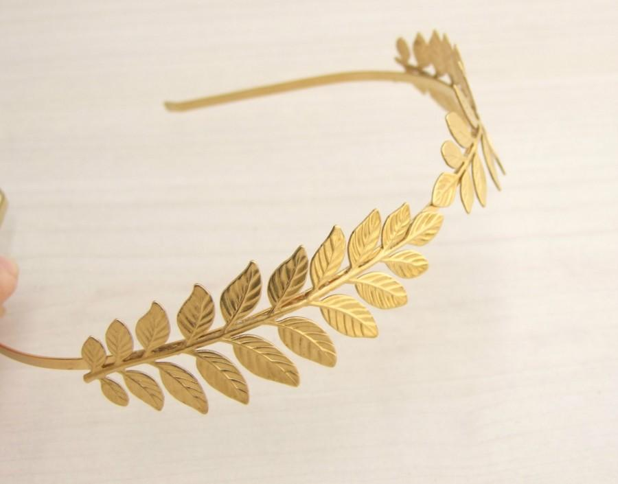 Hochzeit - Leaf Headband, Bridal Hair Piece, Grecian Headband,Greek Goddess Crown , Gold Headband, Gold Leaves Wreath, Bridesmaid Head Piece