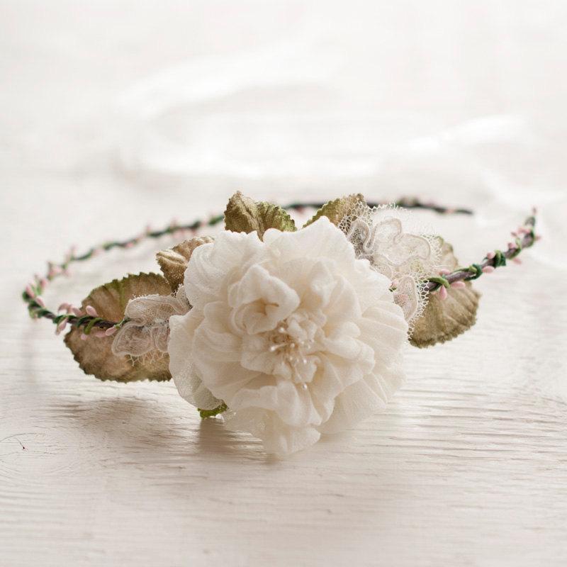 Hochzeit - Bridal Crown Ivory Silk Flower with Pink Berry Hair Wreath Rustic Wedding Headband Boho Chic Hair Garland Wedding Headpiece