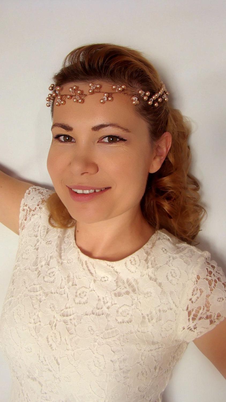 Hochzeit - Rose Gold Hair Accessories, Bridal Hair Accessories, Rose Gold Bridal Hair Vine, Rose Gold Headband Wreath, Rose Gold Headpiece, Gold Tiara