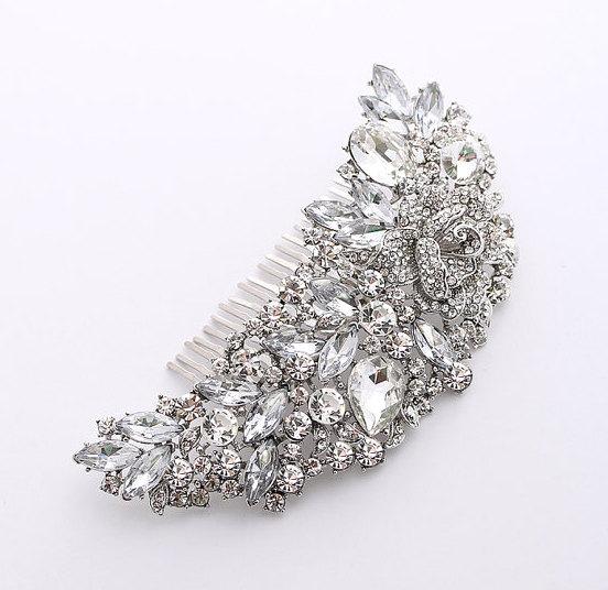 Свадьба - Rhinestone Hair Comb Bridal Hairpiece Gatsby Old Hollywood Glam Wedding Big Crystal Comb Headpiece Hair Jewelry Accessory
