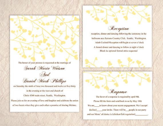 Свадьба - DIY Wedding Invitation Template Set Editable Word File Instant Download Printable Invitation Yellow Wedding Invitation Heart Invitation