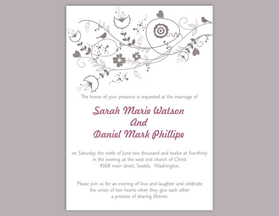 Wedding - DIY Wedding Invitation Template Editable Word File Instant Download Printable Gray Invitation Floral Wedding Invitation Bird Invitation