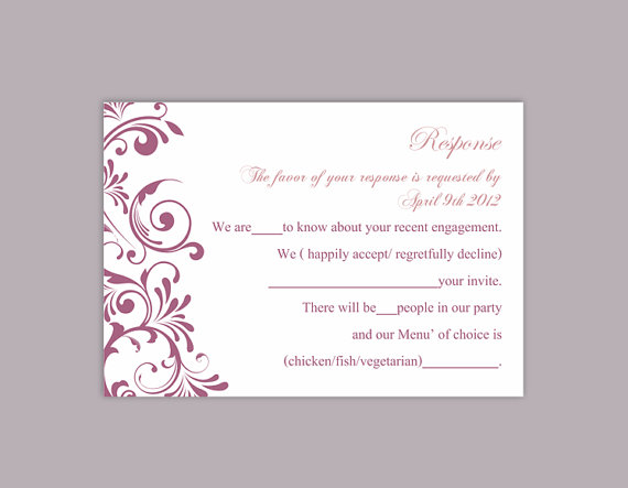DIY Wedding RSVP Template Editable Text Word File Download Rsvp Template  Printable RSVP Cards Purple Eggplant Rsvp Card Elegant Rsvp Card  Party Rsvp Template
