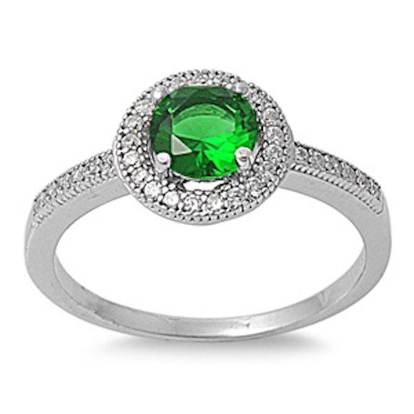 زفاف - 925 Sterling Silver Halo Diamond Accent Dazzling Wedding Engagement Ring 1.00 Carat Round Emerald Green Russian Ice Diamond CZ