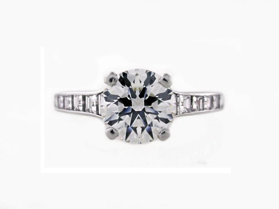 ec06b5dab Tiffany & Co. Diamond Engagement Ring - 1.57 Carat Round Brilliant Cut -  Platinum mounting - Baguette side stones - Tiffany Certificate
