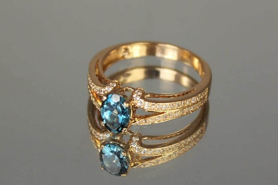 زفاف - Anniversary Ring - Topaz ring - Modern ring - Gold engagement ring - Statement gold ring - Blue gemstone ring