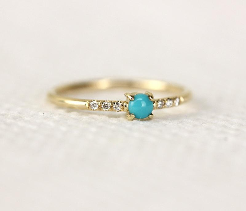 Natural Turquoise And Diamond Micro Pave Setting 14K Gold Engagement ...