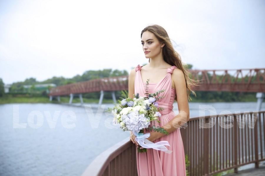 Свадьба - Bridesmaid Dress Infinity Dress Rose Pink Floor Length Maxi Wrap Convertible Dress Wedding Dress