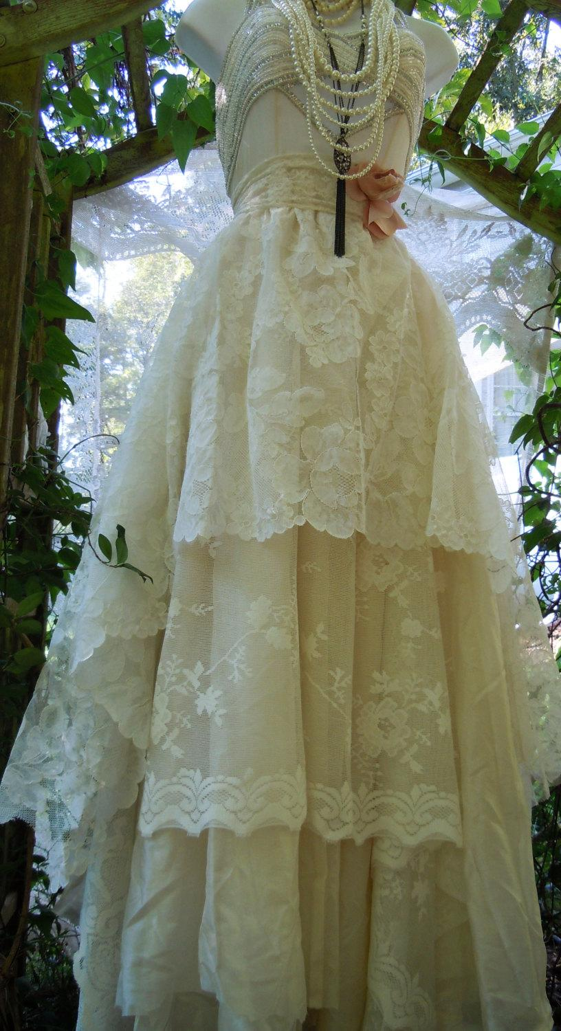 Wedding - Ivory wedding dress beaded  tiered antique  lace tulle fairytale crinoline  vintage  bride  romantic small by vintage opulence on Etsy