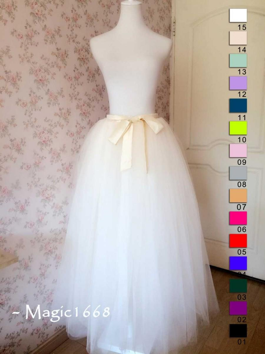 Свадьба - 2015 Wedding Bridesmaid Skirt. Cream Ivory Tulle Skirt. Petticoat Full Floor Length Tulle Skirts Bridesmaid Dress for  Wedding Plus Size