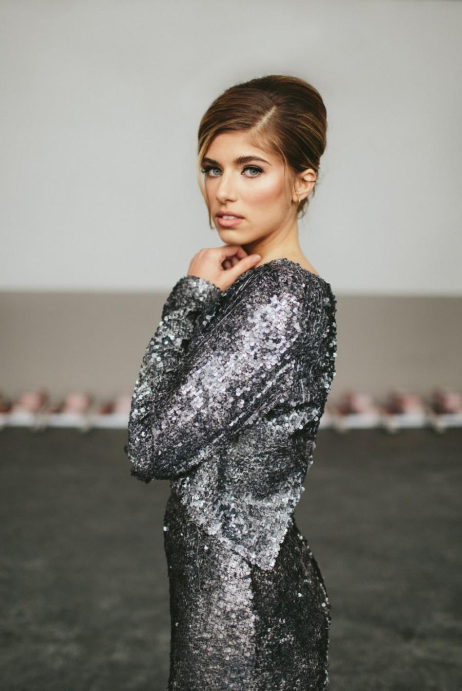Свадьба - Christmas Sale Ends Dec 15th ! Sequin Dress Two Piece Open Back Crop Top with Long Skirt