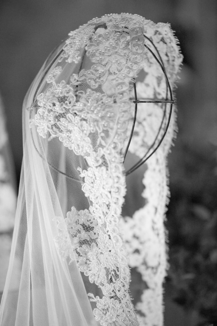 Wedding - Wedding Veil - Hip Length Mantilla with Vintage French Alencon Lace and  Vintge Faux Pearls, Design at Crown