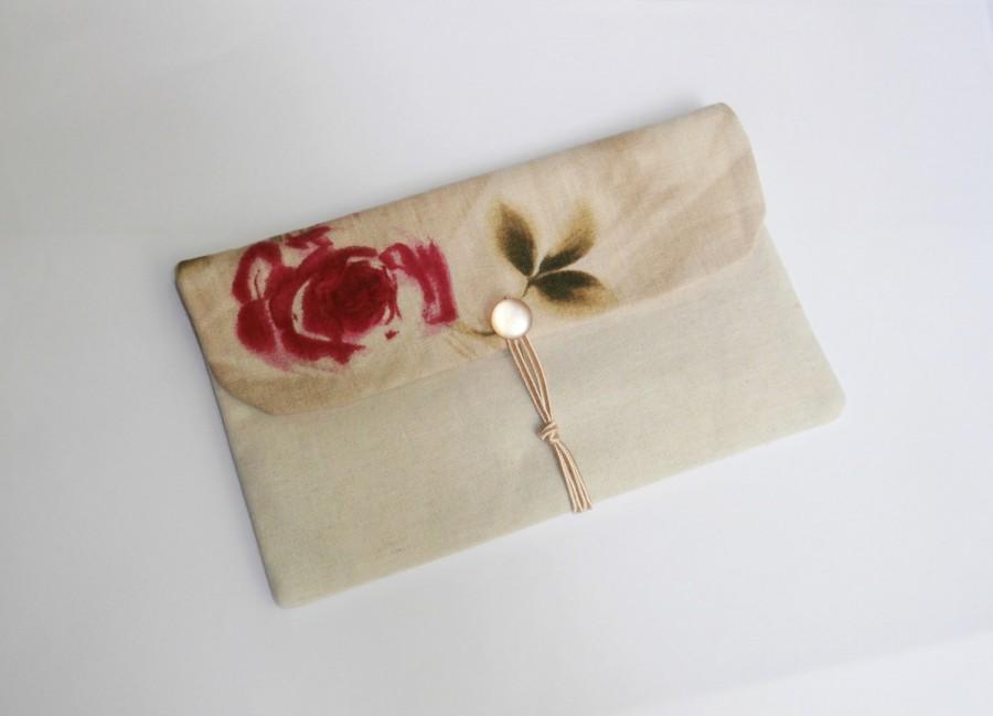 زفاف - Flower Power - nude linen envelope clutch with fuchsia rose on the flap, handmade bag, hippie bag, bridesmaid clutch,  wedding clutch