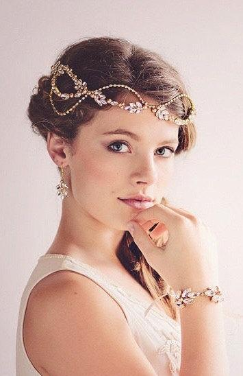 Mariage - Gatsby Bridal Headpiece Tiara, Gold Crystal Hairvine , The Daisy Couture Headpiece #11