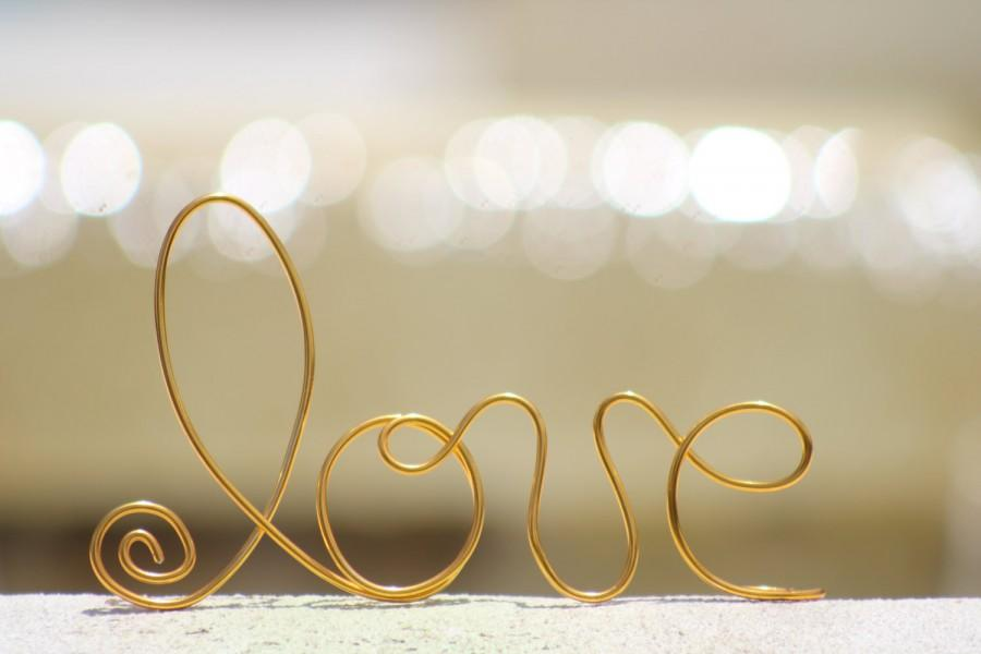 Mariage - Gold Wire Love wedding Cake Toppers - Decoration - Beach wedding - Bridal Shower - Bride and Groom - Rustic Country Chic Wedding