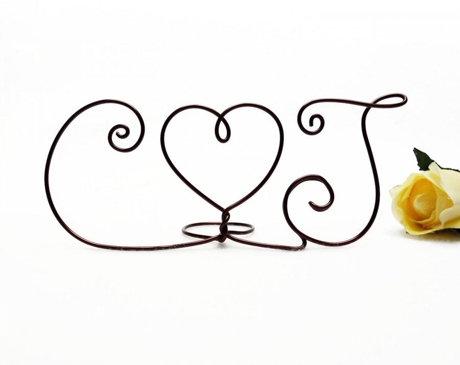 Mariage - Wire Monogram Initials Heart Cake Topper- Your Choice of Letters- Silver, Gold, Brown, Black, Red, Diamond Cut Silver, Copper Rose