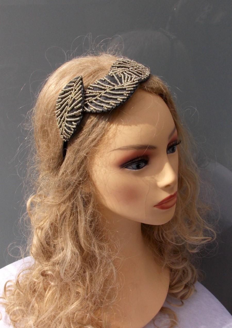Свадьба - Jewel diadem, Embroidered headpiece, Beaded diadem, Grey diadem, Silver diadem, Hair accessories, Beaded headpiece