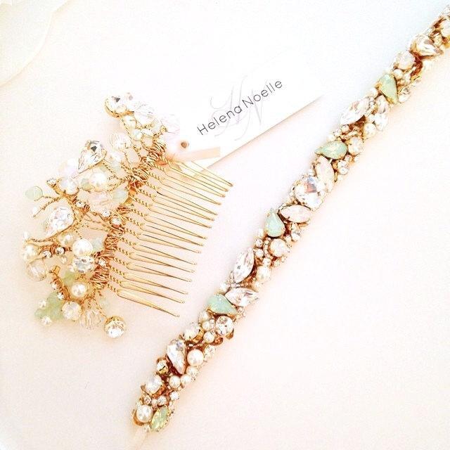 Свадьба - Opal Mint Crystal Bridal Belt- Narrow Bridal Belt- Swarovski Crystal Bridal Sash- One-of-a-Kind Hand-Beaded -Vintage Glamour