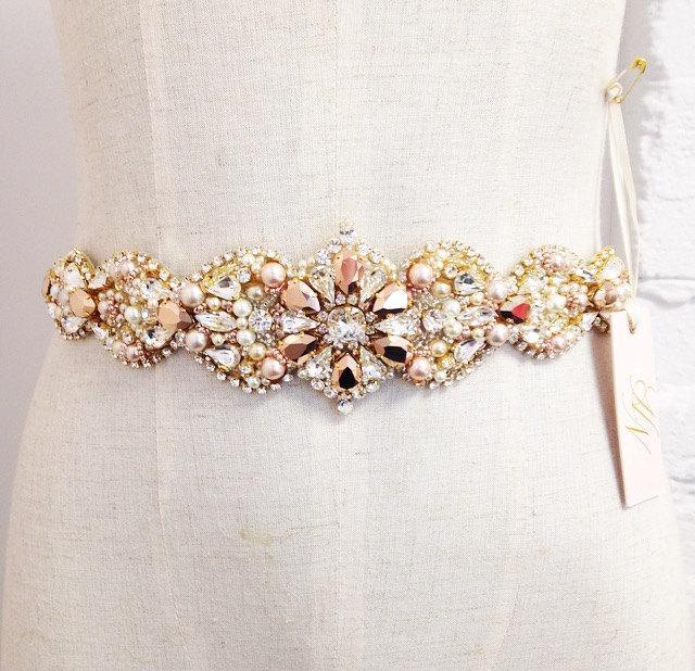 Свадьба - Custom Rose Gold and Blush Crystal Bridal Belt- Swarovski Crystal Bridal Sash- One-of-a-Kind Hand-Beaded -Vintage Glamour