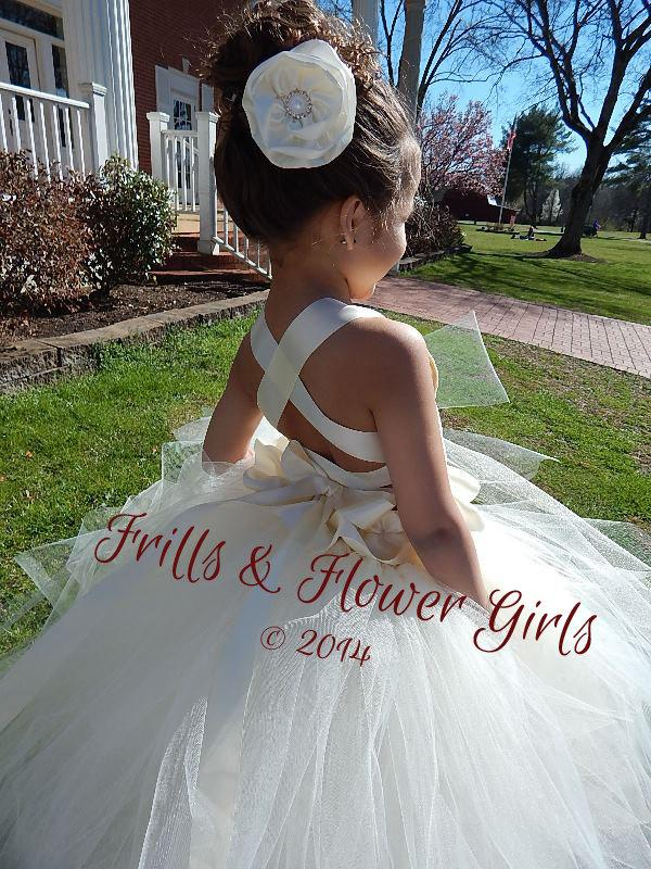 Ivory Lace Halter Tutu Dress Flower Girl Dress Sizes 2, 3, 4, 5, 6 ...