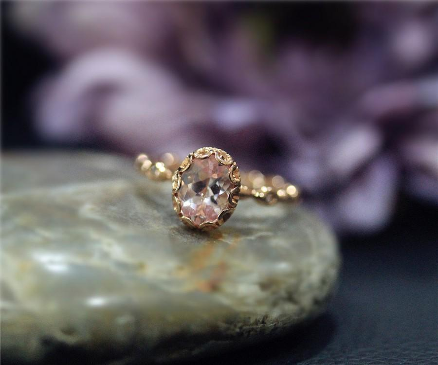 Mariage - Fancy Vintage Stackable Engagement Ring Natural Pink VS Morganite Oval Ring Rose Gold 14K Solid Ring Wedding Ring Promise Ring