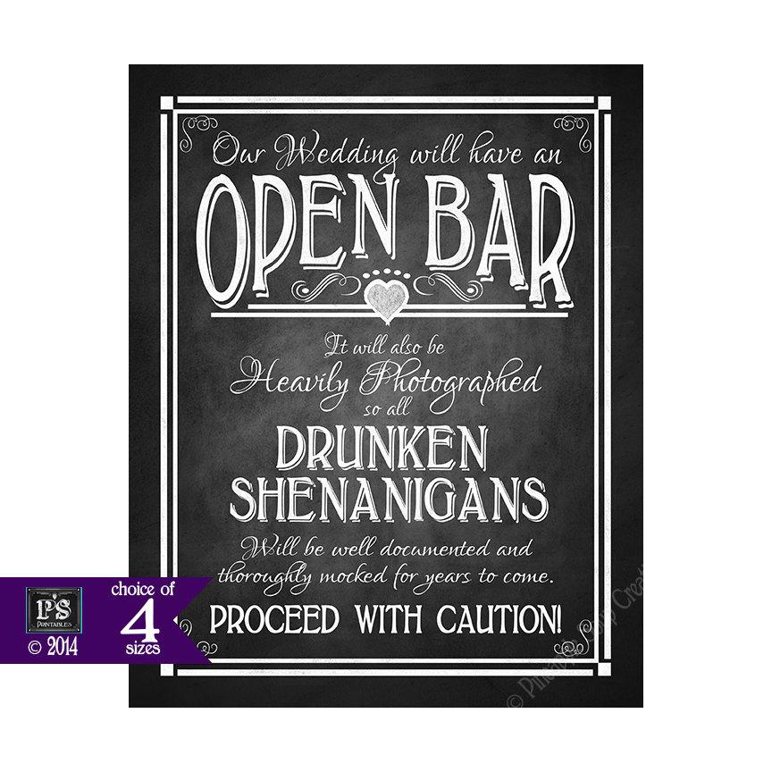 Mariage - Open Bar Printable Wedding Sign DIY Digital Instant Download 4 sizes - Drunken sheningans wedding sign - Rustic Heart Chalkboard Collection