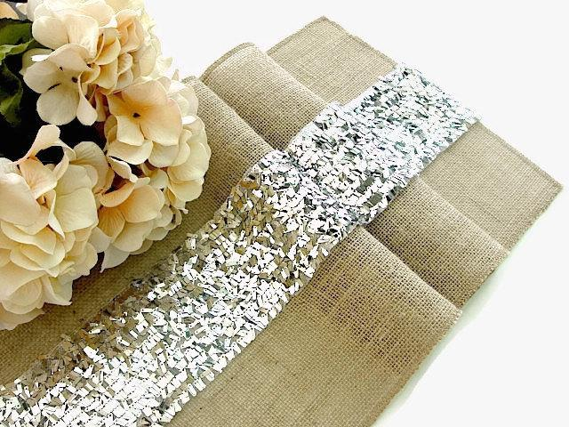 Hochzeit - Luxury Sequin Silver Table Runner,  Wedding Table Decor , Glamour Sequin Overlay Rustic burlap table runner Handmade in the USA