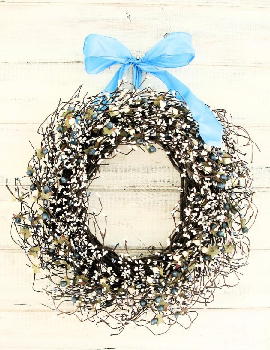 Mariage - Winter Wedding Wreath-Vintage Wedding Decor TEAL BLUE & CREAMY White Wreath-Wedding Decorations-Shabby Chic Wedding-Custom Wedding Decor-